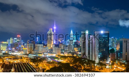 Kuala Lumpur City Skyline at Night from high level view #382694107