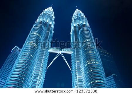KUALA LUMPUR - DEC-31: View of The Petronas Twin Towers on DEC 31, 2012 in Kuala Lumpur, Malaysia. It is famous landmark of Malaysia. Petronas are the tallest twin buildings in the world (451.9 m).