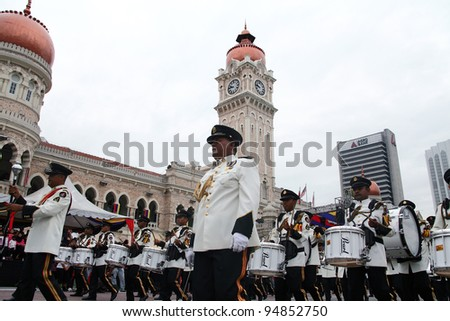 KUALA LUMPUR - JAN 28 : Royal Malaysian Police Band march during the Federal Territory Day celebration parade on Jan 28,2012 in Dataran Merdeka, Kuala Lumpur,Malaysia