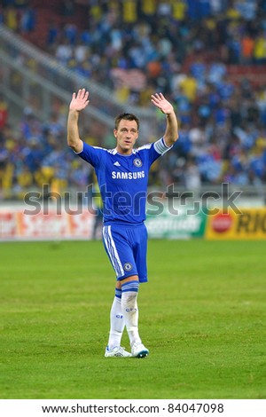 KUALA LUMPUR, July 21 : Chelsea's John Terry waving hand during a preseason match agains Malaysia on July 21, 2011 in Kuala Lumpur, Malaysia. Chelsea won 1-0