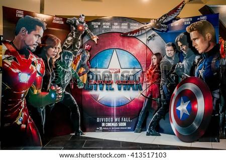 stock photo kuala lumpur malaysia april a wall sized captain america poster displayed during a 413517103 - Каталог — Фотообои «Для детской»