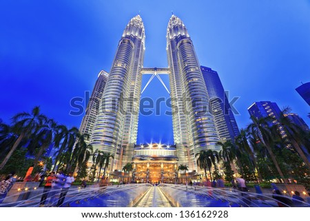KUALA LUMPUR, MALAYSIA - APRIL 13: Nightscape of Petronas Twin Towers on April 13, 2013 in Kuala Lumpur Malaysia. Petronas Twin Towers were the tallest buildings (452m)  in the world during 1998-2004.