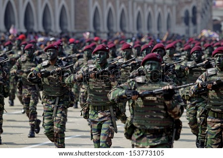 KUALA LUMPUR, MALAYSIA - AUGUST 31: Malaysian Armed Forces personnels from the Para Brigade takes part during the Independence Day celebration in Kuala Lumpur, Malaysia, 31 August 2013.