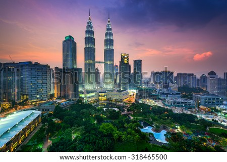 Kuala Lumpur, Malaysia city skyline. Foto stock ©