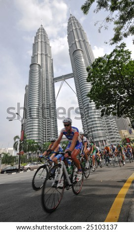 KUALA LUMPUR, MALAYSIA - February 15:  Cyclists pedal their way at the final stage of le Tour de Langkawi in Kuala Lumpur, Malaysia on February 15, 2009.