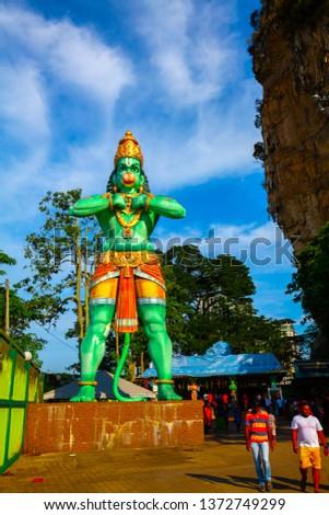Kuala Lumpur, Malaysia - February 02 2019: Hanuman sculpture near Batu Caves #1372749299
