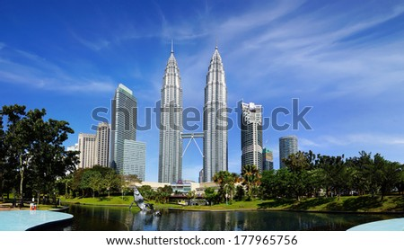 KUALA LUMPUR MALAYSIA JANUARY 31 Petronas Towers on January 31 2014 in Kuala Lumpur Malaysia.Petronas Towers also known as Menara Petronas is the tallest buildings in the world from 1998 to 2004