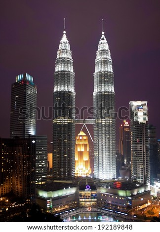 KUALA LUMPUR MALAYSIA JANUARY 17 Petronas Twin Towers at day on January 17 2014 in Kuala Lumpur Petronas Twin Towers were the tallest buildings 452 m in the world from 1998 to 2004