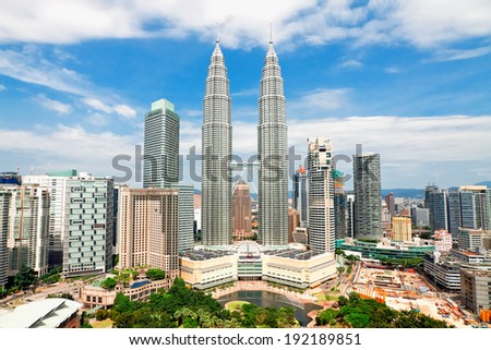 KUALA LUMPUR MALAYSIA JANUARY 19 Petronas Twin Towers at day on January 19 2014 in Kuala Lumpur Petronas Twin Towers were the tallest buildings 452 m in the world from 1998 to 2004