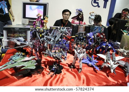 KUALA LUMPUR, MALAYSIA - JULY 25 : A vintage collections of Robotech toys displayed on Malaysia International Toy Fair July 25, 2010 at Mid Valley, Kuala Lumpur Malaysia
