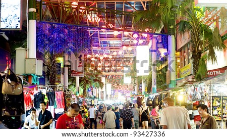 KUALA LUMPUR, MALAYSIA - MARCH 30: Petaling Street on March 30, 2011 in Kuala Lumpur. The street is a long market which specialises in counterfeit clothes, watches and shoes. Famous tourist attraction