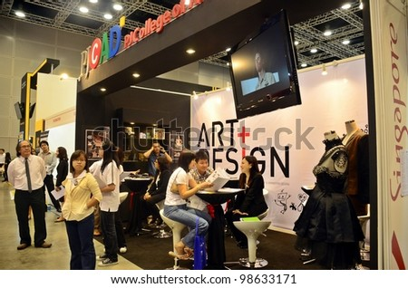 KUALA LUMPUR, MALAYSIA - MARCH 17: PJC college of Art promote the exhibition during the Falcon Education Fair 2012 at Kuala Lumpur Convention Centre (KLCC) March 17, 2012 in Kuala Lumpur. - stock photo