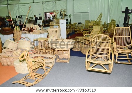 KUALA LUMPUR, MALAYSIA - MARCH 30: Rattan handicraft exhibition by traders during National Craft Day 2012 at the Kuala Lumpur Craft Complex on March 30, 2012 in Kuala Lumpur, Malaysia