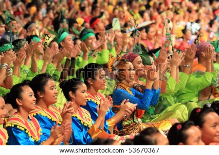 KUALA LUMPUR, MALAYSIA - MAY 21 : Dancers perform the dikir barat during the rehearsal of Colours of Malaysia Festival May 21, 2010 in Kuala Lumpur Malaysia.