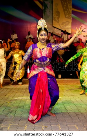 KUALA LUMPUR,MALAYSIA-MAY 20:Participant performing traditional indian dance at the rehearsal of Colours of 1 Malaysia May 20 2011 in Kuala Lumpur Malaysia.24.6million tourist visited Malaysia in 2010