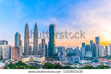 Kuala Lumpur, Malaysia -  May 14,2018 - Petronas Towers and KLCC.Petronas Towers is a high-rise building in Kuala Lumpur, Malaysia.This tower was built in 1998.height is 452 m. #1103855630