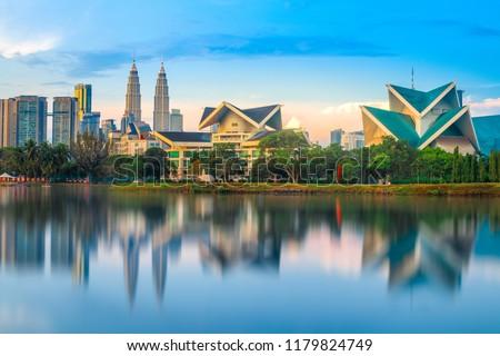Kuala Lumpur , Malaysia morning view reflection , Travel Malaysia