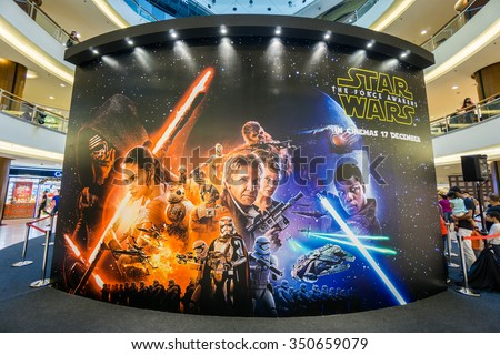 KUALA LUMPUR, MALAYSIA - NOV, 2015 : A wall sized Star Wars poster displayed during a roadshow in Mid Valley taken on 23 November 2015. Star Wars: The Force Awakens premieres on 17th December 2015.