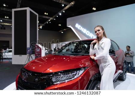 Kuala Lumpur, Malaysia - Nov. 30, 2018: Model posed for photograph at Honda booth during exhibition of Kuala Lumpur International Motorshow at MITEC