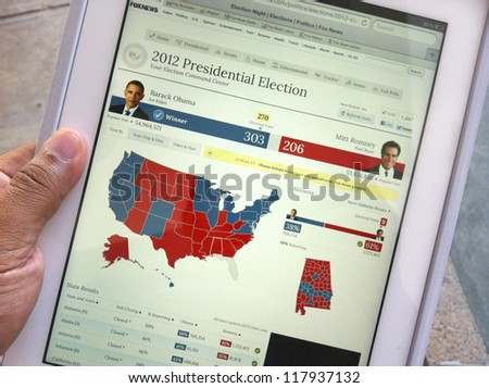 KUALA LUMPUR, MALAYSIA-NOV. 7:Screen capture of 2012 US Presidential Election result on an Apple iPad 3 in K. Lumpur on Nov. 7, 2012. Barack Obama defeated Mitt Romney for the second term in office.