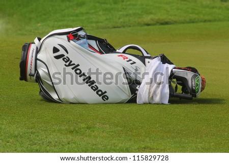 KUALA LUMPUR, MALAYSIA - OCTOBER 10: Nicole Castrale USA bag during day 2 of the Sime Darby LPGA Malaysia 2012 golf tournament on Oct 10, 2012 in Kuala Lumpur, Malaysia.