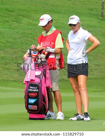KUALA LUMPUR, MALAYSIA - OCTOBER 10: Paula Creamer of the USA prepares to play at the fairway of hole #6 during the Sime Darby LPGA 2012 golf tournament on Oct 10, 2012 in Kuala Lumpur, Malaysia.