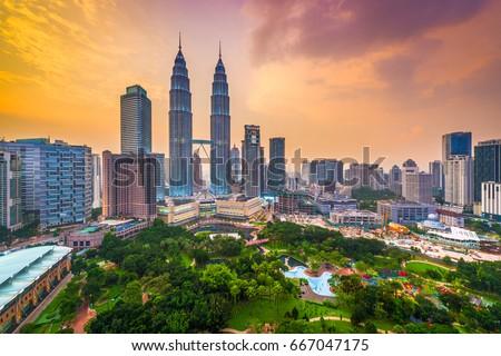 Kuala Lumpur, Malaysia park and skyline.