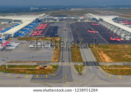 KUALA LUMPUR, MALAYSIA - SEPTEMBER 30, 2018:Air Asia Airplanes at KLIA2 airport.Air Asia is a fast growing low cost carrier based in Malaysia. #1238951284