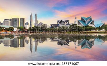 Kuala Lumpur, Malaysia skyline at Titiwangsa Park. Foto stock ©