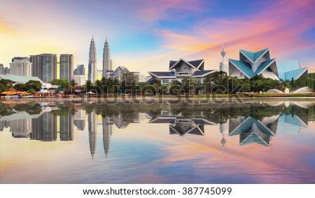 Stock Photo Kuala Lumpur, Malaysia skyline at Titiwangsa Park.