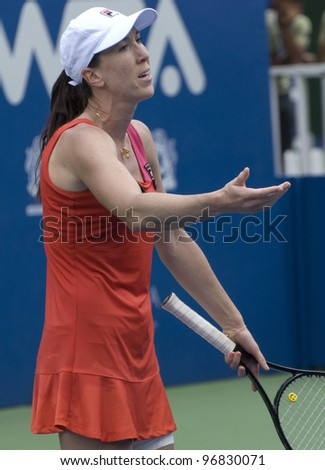 KUALA LUMPUR - MARCH 4: Jankovic(SRB) disappointed with the decision of a lines man in semi final match against Petra Martic (CRO) at BMW Malaysian Open in Kuala Lumpur, Malaysia on March 4, 2012