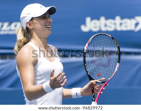 KUALA LUMPUR - MARCH 4: Petra Martic(CRO) disappointed with the decision of a lines man in semi final match against Jankovic (SRB) at BMW Malaysian Open in Kuala Lumpur, Malaysia on March 4, 2012