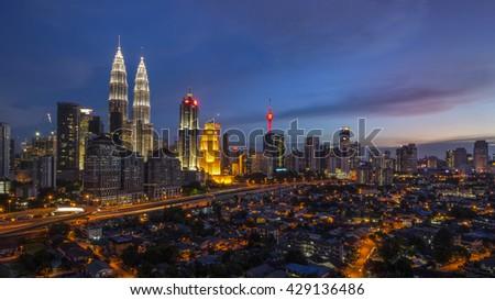 KUALA LUMPUR MAY 30, 2016 : Panorama of Kuala Lumpur CIty Center at dusk. #429136486
