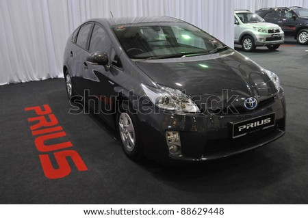 KUALA LUMPUR - NOV. 12 : A Toyota Hybrid Prius on display at Car of The Year 2U Autoshow (COTY2U 2011) on November 12, 2011 in Kuala Lumpur, Malaysia. The Prius first went on sale in Japan in 1997.