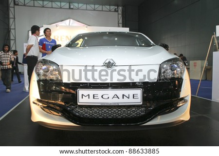 KUALA LUMPUR - NOV 12: Renault Megane RS at the Car Of The Year Auto Show on November 12 2011 in Kuala Lumpur, Malaysia. Renault Megane; the three-door hatch with 2.0 litre 4-pot turbocharged