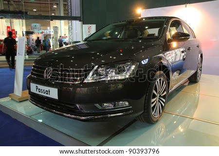 KUALA LUMPUR - NOV 12: VW Passat on display at the Car Of The Year Auto Show on November 12, 2011 in Kuala Lumpur, Malaysia. The new Passat is a 7-speed direct shift gearbox DSG with turbocharged TSI engine.