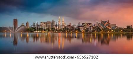 Kuala Lumpur Panorama. Panoramic image of Kuala Lumpur, Malaysia skyline during sunset.