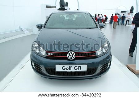 kuala lumpur sept  front view  vw golf gti  display   volkswagen das auto show