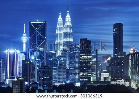 Stock Photo Kuala Lumpur skyline at night