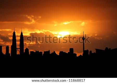 Kuala Lumpur skyline at sunset with beautiful sky illustration - stock photo