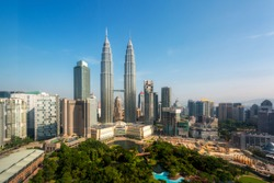 Kuala lumpur skyline in the morning, Malaysia, Kuala lumpur is capital city of Malaysia. Asia tourism, modern city life, or business finance and economy concept