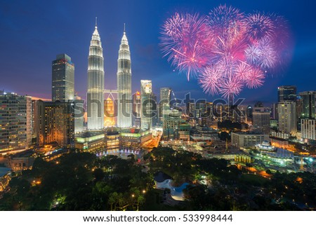Kuala lumpur skyline with Fireworks celebration New year day 2017 or Malaysia Independence Day in Kuala lumpur, Malaysia.