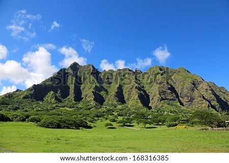 "Kualoa Ranch, Oahu, Hawaii - film location of ""Jurassic Park"" - stock photo"