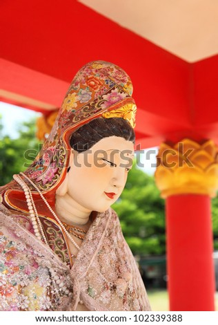 Kuan im buddha in Thialand temple Stok fotoğraf ©
