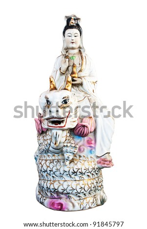 Kuan yin Riding the Dragon isolated on white background,clipping path.