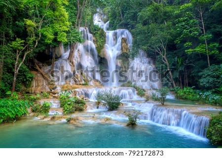 Kuang si waterfall: The beauty of nature - Shutterstock ID 792172873