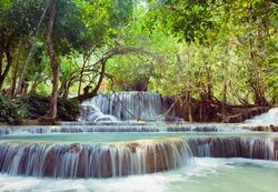 Kuangsi  waterfall in deep forest in Luang Prabang, Laos