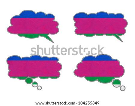 Kuban Peoples Republic Flag. Dialog box recycled paper on white background. - stock photo