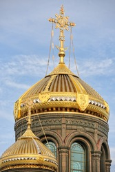 KUBINKA, MOSCOW REGION, RUSSIA - The huge 34-ton gilded dome with a cross of the Main Church of the Russian Armed Forces in Kubinka