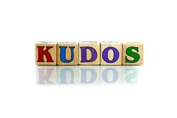 kudos colorful wooden word block on the white background